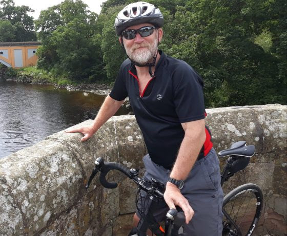 Bishop Paul on his cycle
